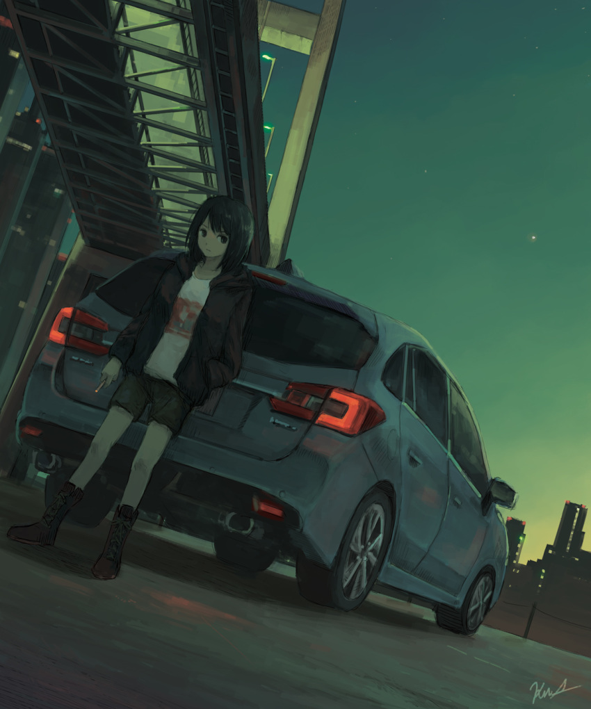 1girl black_eyes black_hair black_jacket boots bridge car cigarette cityscape cross-laced_footwear dutch_angle ground_vehicle hand_in_pocket highres hood hooded_jacket jacket kensight328 lace-up_boots motor_vehicle night original outdoors short_hair shorts sky solo standing