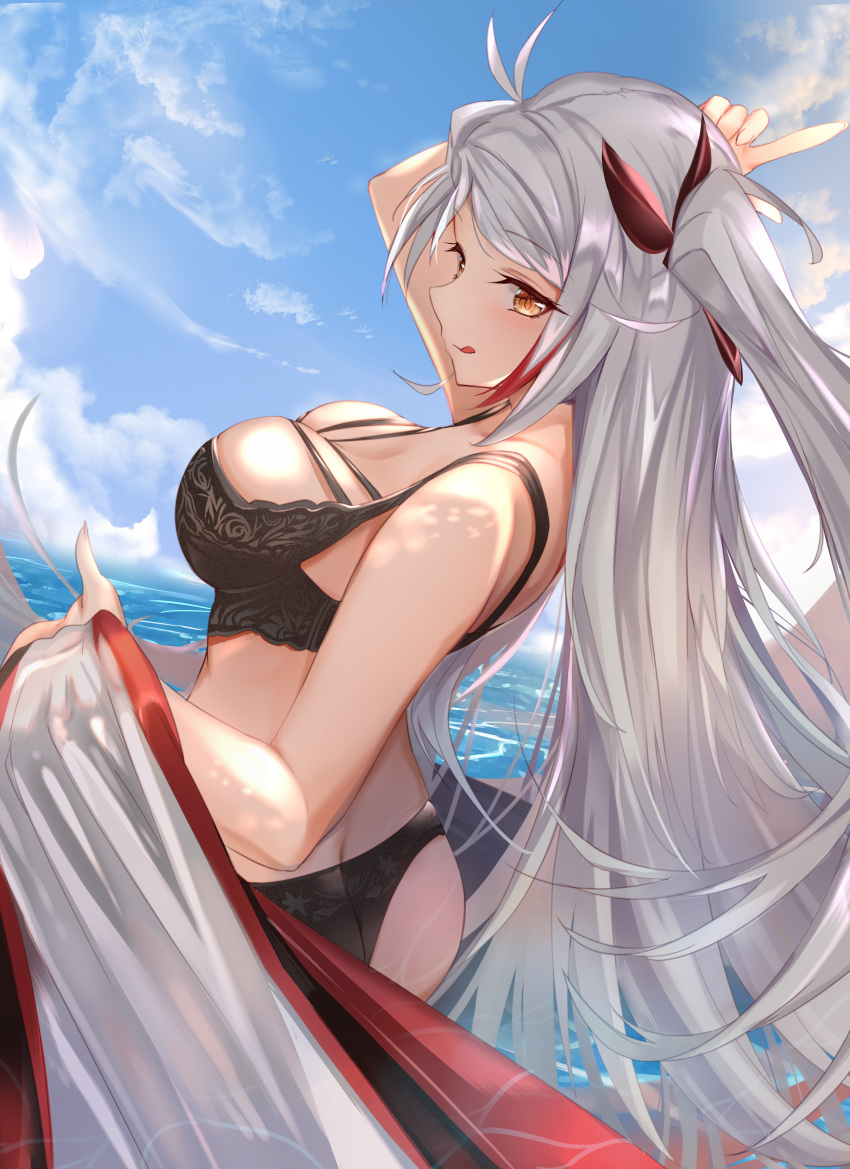 1girl :q absurdres antenna_hair ass azur_lane bangs bare_shoulders bikini black_bikini blue_sky blush breasts brown_eyes butt_crack clouds cloudy_sky day eyebrows_visible_through_hair fanbox_reward floating_hair hair_between_eyes highres huge_filesize large_breasts long_hair looking_at_viewer mujinbi multicolored_hair ocean outdoors paid_reward patreon_reward prinz_eugen_(azur_lane) redhead silver_hair sky smile solo streaked_hair swimsuit tongue tongue_out two_side_up very_long_hair water