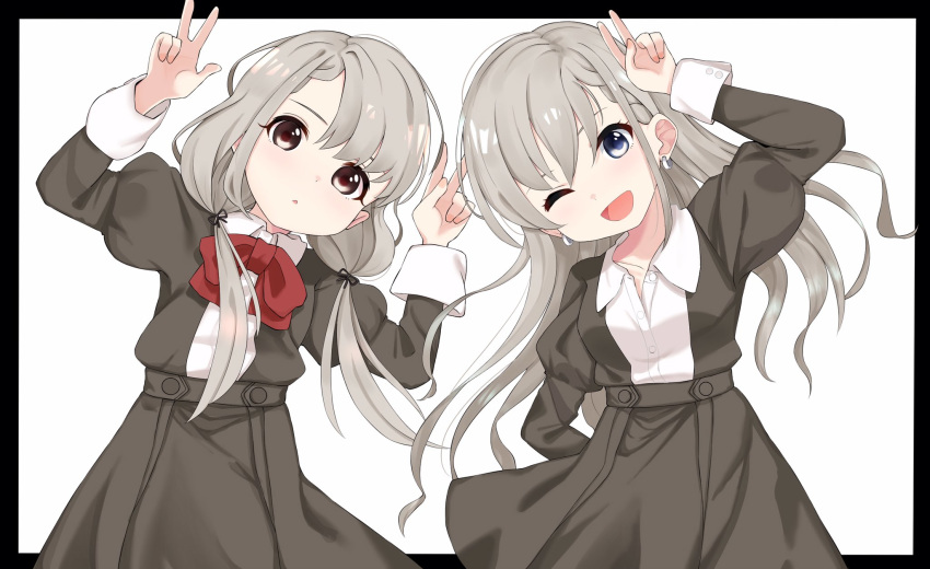 2girls ;d arm_behind_back arm_up bangs black_border black_jacket black_skirt blue_eyes border bow braid brown_eyes collared_shirt commentary_request double_w dress_shirt earrings eyebrows_behind_hair grey_hair hair_between_eyes highres hisakawa_hayate hisakawa_nagi idolmaster idolmaster_cinderella_girls idolmaster_cinderella_girls_starlight_stage jacket jewelry juliet_sleeves long_hair long_sleeves low_twintails multiple_girls one_eye_closed open_mouth outside_border parted_lips pleated_skirt puffy_sleeves red_bow shirt shiwa_(siwaa0419) siblings sisters skirt smile twins twintails v very_long_hair w white_background white_shirt