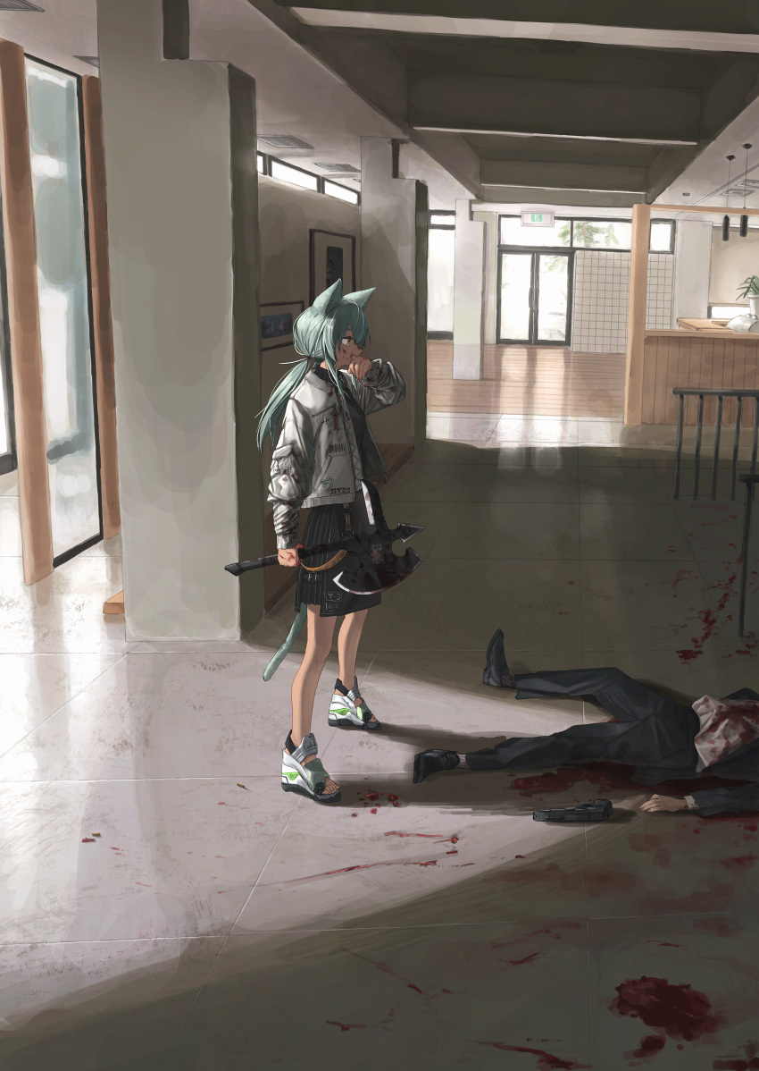 1boy 1girl absurdres animal_ears blood blood_on_face blood_splatter bloody_axe bloody_clothes bloody_hands bloody_weapon cat_ears cat_girl cat_tail death door formal green_hair gun highres huge_filesize indoors jacket long_sleeves looking_at_another original ponytail seisei_tamago shell_casing solo_focus standing suit tail weapon white_jacket yellow_eyes