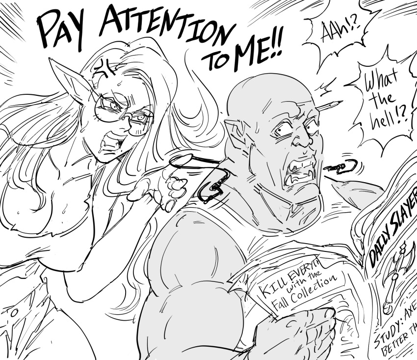 /\/\/\ 1boy 1girl anger_vein angry bald bb_(baalbuddy) breasts commentary couple covered_nipples earphones elf english_commentary fangs greyscale hetero highres holding_newspaper large_breasts long_hair midriff mole mole_under_mouth monochrome no_nut_november orc original pencil pointy_ears reading rejection round_eyewear shirt short_shorts shorts shouting simple_background sleeveless sleeveless_shirt sweatdrop tank_top white_background wide-eyed