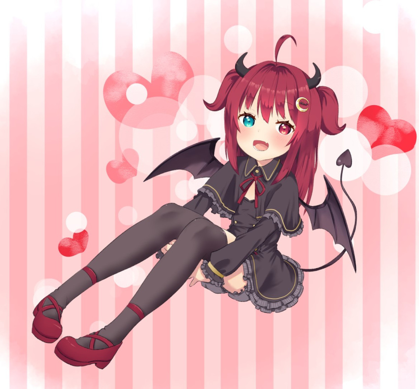 1girl ahoge bangs black_capelet black_dress black_legwear bloomers blue_eyes blush capelet coffee-milk-moumou crescent crescent_hair_ornament demon_girl demon_horns demon_wings dress fang frilled_capelet frilled_dress frills gothic_lolita hair_ornament heart heterochromia horns invisible_chair leg_hug lolita_fashion long_hair mary_janes nijisanji open_mouth red_eyes red_footwear redhead shoes sitting smile solo striped striped_background thigh-highs two_side_up underwear virtual_youtuber wings yuzuki_roa
