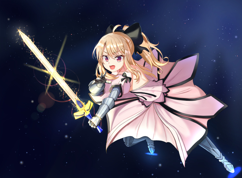 1girl absurdres bangs bare_shoulders black_bow black_ribbon blush bow breasts commentary_request dress excalibur fate/stay_night fate_(series) gauntlets hair_bow highres illyasviel_von_einzbern long_hair looking_at_viewer open_mouth red_eyes ribbon smile solo white_dress white_hair zeroillya