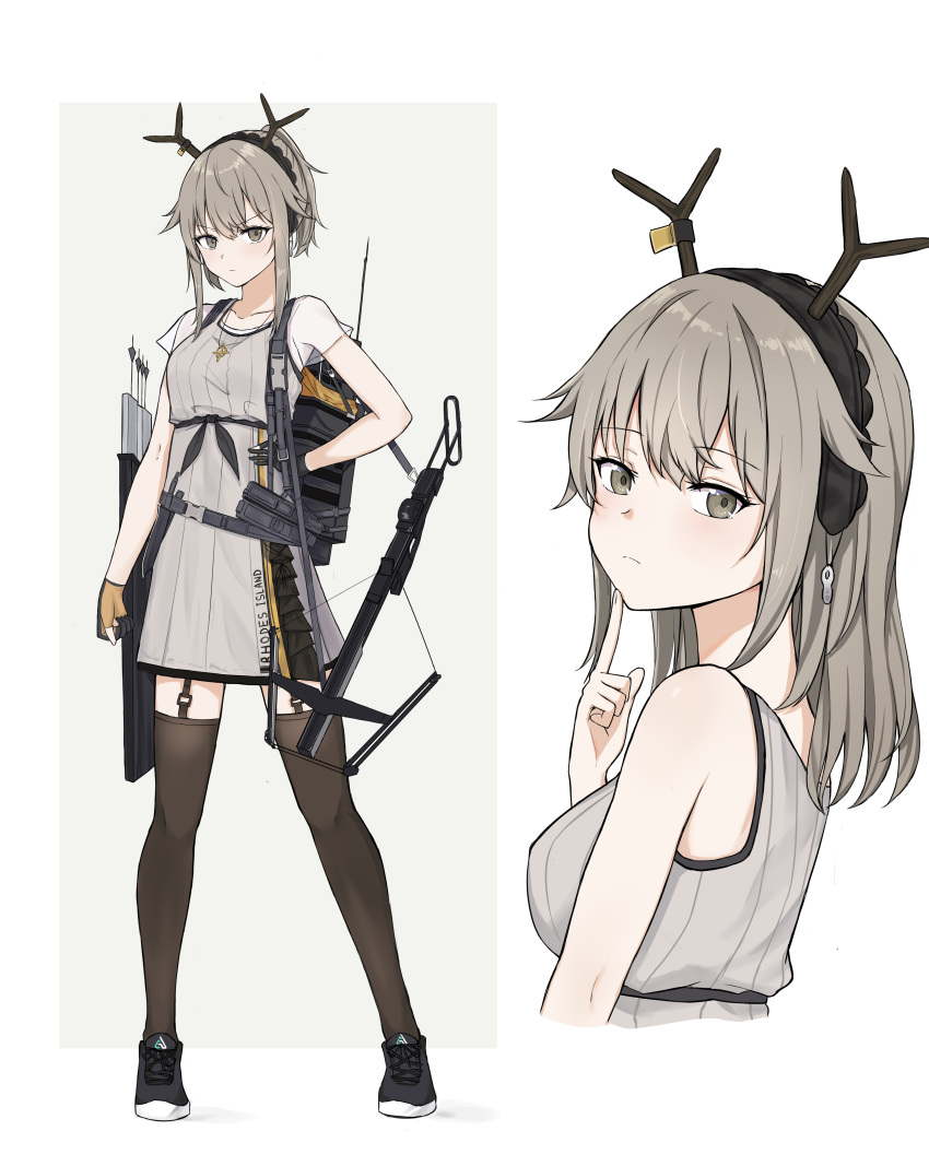 1girl absurdres antlers arknights bangs black_legwear bow_(weapon) breasts crossbow crossbow_bolts deer_antlers deer_girl eyebrows_visible_through_hair finger_to_chin firewatch_(arknights) from_side full_body garter_straps grey_eyes grey_hair hair_between_eyes highres holding holding_weapon jewelry long_hair looking_at_viewer mango_(mgo) multiple_views necklace ponytail see-through_sleeves serious shoes sidelocks simple_background small_breasts sneakers tank_top thigh-highs upper_body v-shaped_eyebrows weapon white_background
