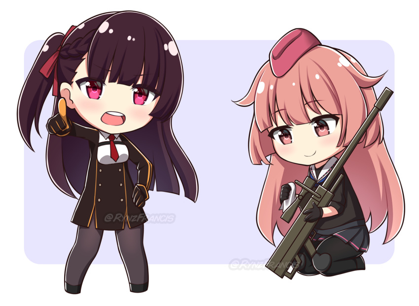 2girls anti-materiel_rifle bangs black_dress black_footwear black_gloves black_legwear black_shirt black_skirt blue_background braid breasts brown_eyes brown_hair chibi closed_mouth collared_shirt commission dress eyebrows_visible_through_hair girls_frontline gloves gun hair_ribbon hand_on_hip holding holding_gun holding_weapon long_sleeves looking_at_viewer multiple_girls necktie ntw-20 ntw-20_(girls_frontline) object_namesake one_side_up open_mouth pantyhose pink_hair pleated_skirt pointing pointing_at_viewer red_eyes red_neckwear red_ribbon ribbon rifle rynzfrancis sailor_collar shirt short_necktie short_sleeves skirt small_breasts smile sniper_rifle two-tone_background wa2000_(girls_frontline) weapon white_background white_sailor_collar white_shirt