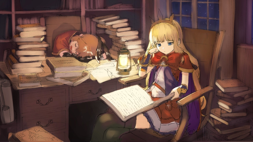 2girls arm_support bangs black_gloves black_ribbon blonde_hair blue_eyes book book_stack bow brown_hair cagliostro_(granblue_fantasy) cape capelet clarisse_(granblue_fantasy) closed_eyes closed_mouth commentary_request desk elbow_gloves eyebrows_visible_through_hair gloves granblue_fantasy green_legwear hair_ribbon head_rest highres holding holding_book indoors lantern long_hair multiple_girls night night_sky open_book open_mouth paper ponytail purple_cape quill reading red_bow red_capelet red_skirt ribbon shirt sitting sketch skirt sky sleeping spikes star_(sky) starry_sky thigh-highs tiara v-shaped_eyebrows very_long_hair wasabi60 white_shirt window