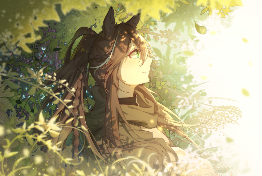 1girl animal_ears arknights bangs braid brown_hair day eyebrows_visible_through_hair fingerless_gloves food food_on_face from_side gloves green_eyes hair_between_eyes highres horse_ears horse_girl lingmuqianyi long_hair looking_up meteor_(arknights) outdoors plant ponytail profile sitting solo sunlight