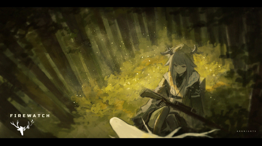 1girl animal antlers arknights backpack bag bangs bow_(weapon) character_name copyright_name crossbow english_text firewatch_(arknights) forest gloves grey_hair highres holding holding_weapon long_hair long_sleeves nature outdoors pantyhose reindeer reindeer_antlers reindeer_girl sidelocks sitting solo_focus tree weapon xinuo223