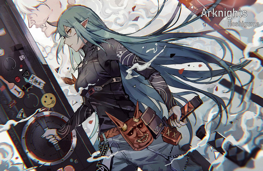 1girl aqua_eyes arknights badge bangs belt belt_pouch breasts button_badge character_name closed_mouth copyright_name cowboy_shot cuts from_side giant gloves green_hair grey_pants grin holding holding_shield holding_sword holding_weapon horn hoshiguma_(arknights) injury jewelry large_breasts layered_clothing lococo:p long_hair long_sleeves looking_at_viewer necklace oni_horns oni_mask pants pendant pouch profile reverse_grip sharp_teeth shield sideways_glance sleeveless smile smirk smoke solo_focus sword teeth turtleneck weapon yellow_eyes