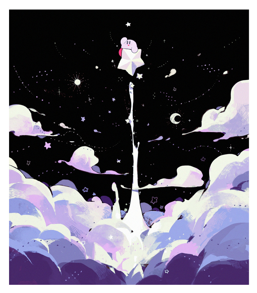 above_clouds blush clouds crescent_moon flying hand_up higa423 highres kirby kirby_(series) moon sky smile solo star star_(sky) starry_sky warp_star