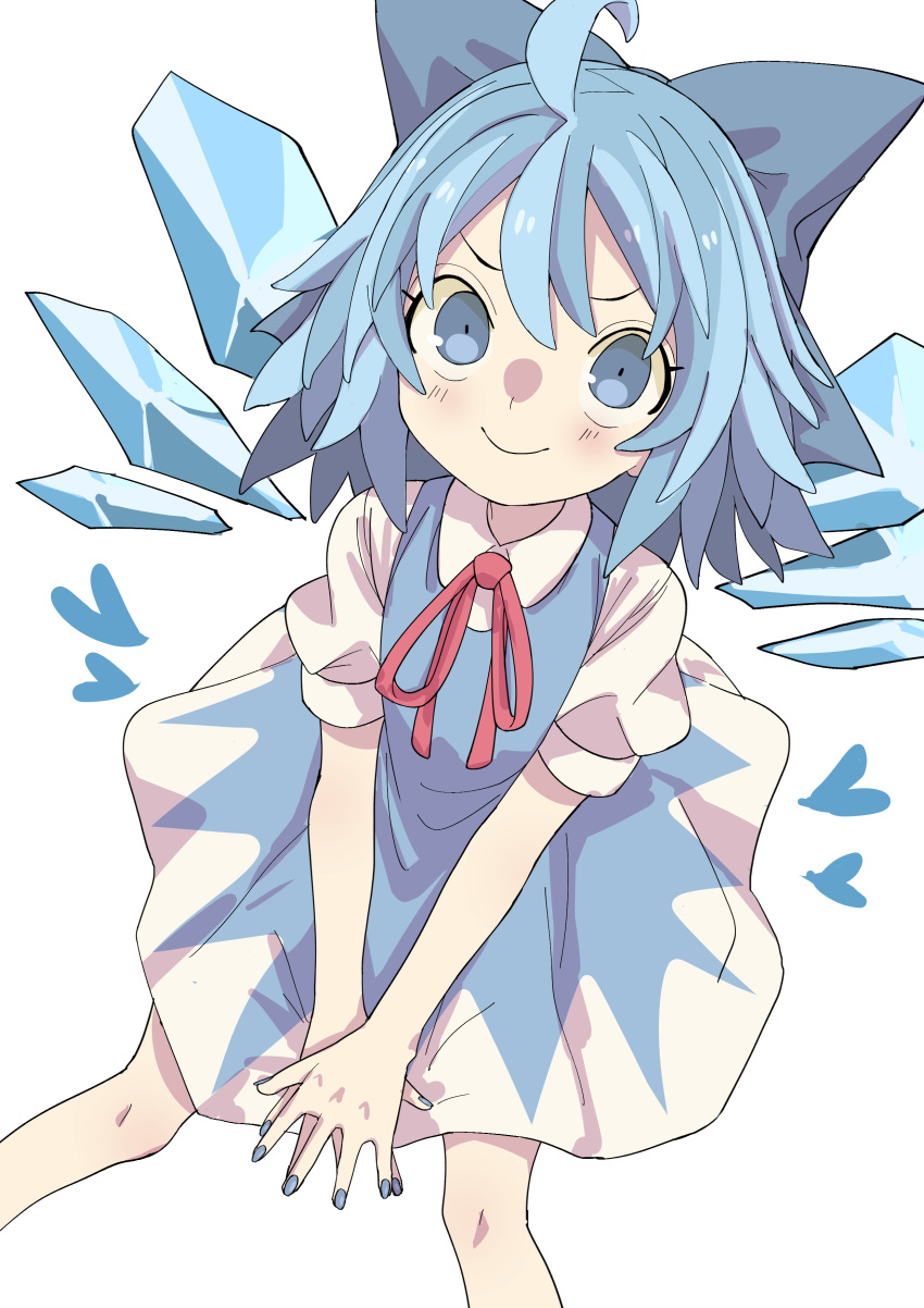 1girl absurdres ahoge banana_takemura blue_bow blue_dress blue_eyes blue_hair blue_nails blue_wings bow cirno closed_mouth dress from_above hair_bow heart highres ice ice_wings looking_at_viewer medium_hair nail_polish puffy_short_sleeves puffy_sleeves short_sleeves simple_background sitting smile solo touhou v_arms white_background wings