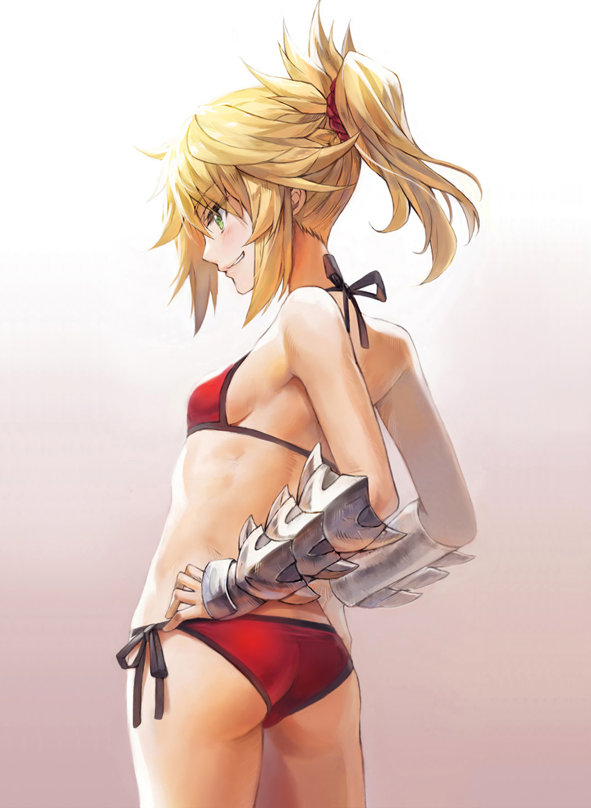 1girl absurdres ass back bangs bikini blonde_hair blush braid breasts fate/grand_order fate_(series) french_braid gauntlets gradient gradient_background green_eyes grin hair_ornament hair_scrunchie hands_on_hips highres long_hair mordred_(fate)_(all) mordred_(swimsuit_rider)_(fate) ponytail red_bikini red_scrunchie scrunchie sidelocks small_breasts smile solo swimsuit thighs tonee