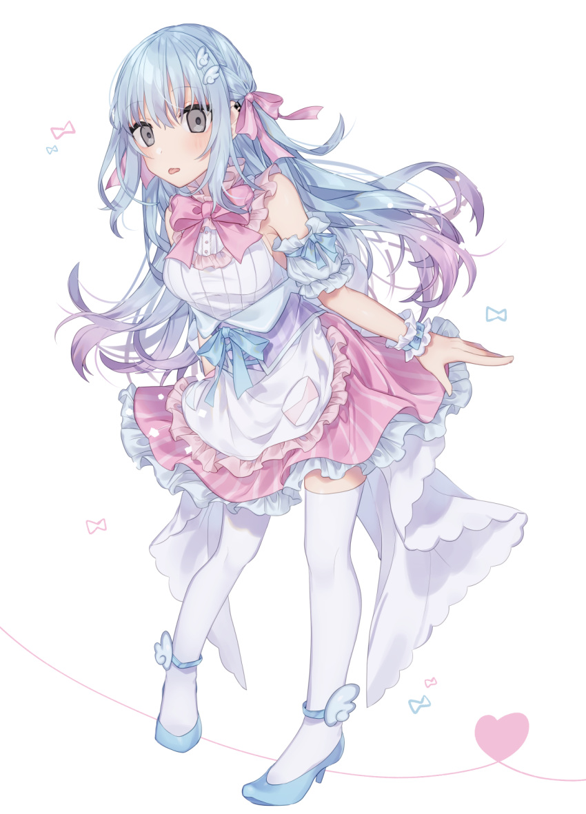 1girl apron bangs bare_shoulders blue_bow blue_footwear blue_hair blush bow closed_mouth detached_sleeves eyebrows_visible_through_hair frilled_apron frilled_skirt frills full_body grey_eyes hair_between_eyes hair_bow heart high_heels highres leaning_forward long_hair looking_at_viewer minamiya_mia original pink_bow pink_skirt puffy_short_sleeves puffy_sleeves shirt shoes short_sleeves simple_background skirt sleeveless sleeveless_shirt solo standing thigh-highs tongue tongue_out very_long_hair waist_apron white_apron white_background white_legwear white_shirt white_sleeves wing_hair_ornament wrist_cuffs