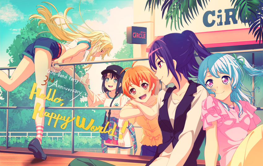 5girls bang_dream! bangs baseball_cap black_hair blonde_hair brown_eyes character_hair_ornament closed_eyes closed_mouth dress eyebrows_visible_through_hair grey_eyes group_name hair_ornament hairclip hat hello_happy_world! highres kitazawa_hagumi light_blue_hair long_hair matsubara_kanon medium_hair multiple_girls official_art okusawa_misaki one_side_up orange_hair ponytail purple_hair red_eyes seta_kaoru short_hair sidelocks smile tsurumaki_kokoro violet_eyes