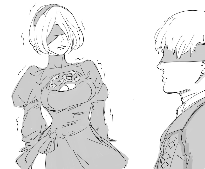 1boy 1girl bb_(baalbuddy) blindfold bob_cut cleavage_cutout commentary covered_eyes dress english_commentary greyscale highres jacket juliet_sleeves long_sleeves monochrome nier_(series) nier_automata profile puffy_sleeves short_hair simple_background smile tearing_up trembling white_background yorha_no._2_type_b yorha_no._9_type_s