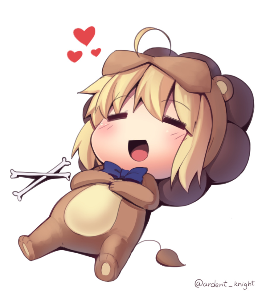 1girl :d =_= ahoge animal_costume artoria_pendragon_(all) blonde_hair blue_neckwear boa_(brianoa) bone bow bowtie chibi eyebrows_visible_through_hair fate/tiger_colosseum fate_(series) heart highres lying on_back open_mouth saber_lion smile solo transparent_background twitter_username