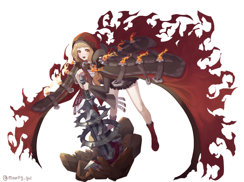 1girl artist_name axe bangs bare_legs belt belt_buckle blonde_hair blunt_bangs blush boots brown_belt brown_dress buckle cape dress fire full_body highres holding holding_axe holding_weapon hood hood_up hooded_cape keyhole little_red_riding_hood_(sinoalice) lock long_hair long_sleeves looking_at_viewer mashi313 open_mouth padlock red_cape red_footwear red_hood rock short_dress simple_background sinoalice solo standing upper_teeth weapon white_background yellow_eyes