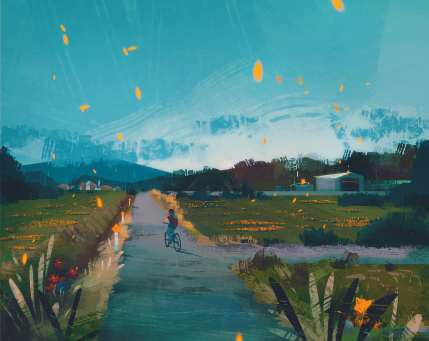 1boy abra backpack bag bicycle blue_sky commentary day field from_behind gen_1_pokemon gloom grass ground_vehicle highres horizon outdoors petals pokemon pokemon_(creature) red_(pokemon) riding road scenery shadow simone_mandl sky street wide_shot