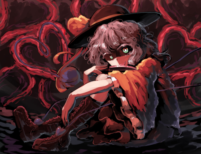 1girl abstract abstract_background boots bow brown_footwear cross cross-laced_footwear evil_grin evil_smile eyeball frilled_skirt frilled_sleeves frills grin hat hat_bow hat_ribbon headwear heart heart_of_string holding holding_knife holding_weapon kitchen_knife knife komeiji_koishi legs_up looking_at_viewer mary-san nose open_eyes ribbon shaded_face shadow shirt silver_hair sitting skirt smile spell_card string sunyup third_eye touhou wavy_hair weapon white_hair wide-eyed wide_sleeves yellow_bow yellow_ribbon