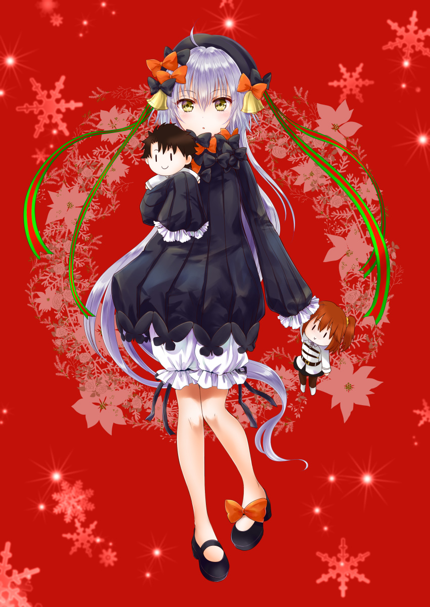 1girl abigail_williams_(fate/grand_order) abigail_williams_(fate/grand_order)_(cosplay) absurdres ahoge ayamu_(igakato) bangs bell black_bow black_dress black_footwear black_headwear bloomers blush bow breasts cosplay dress fate/grand_order fate_(series) floral_background fujimaru_ritsuka_(female) fujimaru_ritsuka_(male) full_body green_ribbon hair_between_eyes hat headpiece highres jeanne_d'arc_(fate)_(all) jeanne_d'arc_alter_santa_lily legs long_hair long_sleeves looking_at_viewer open_mouth orange_bow polka_dot polka_dot_bow red_background ribbed_dress ribbon silver_hair sleeves_past_fingers sleeves_past_wrists small_breasts snowflake_background striped striped_ribbon stuffed_toy underwear very_long_hair white_bloomers yellow_eyes
