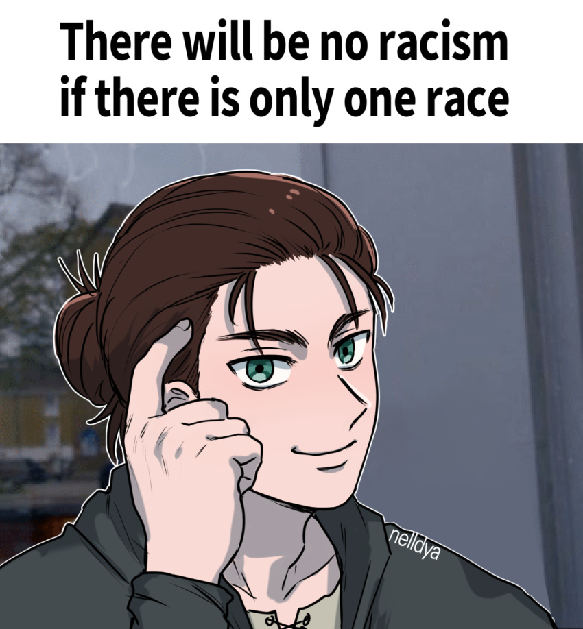 1boy artist_name brown_hair commentary english_commentary english_text eren_yeager green_eyes hair_bun highres hood hoodie jacket looking_at_viewer medium_hair meme nelldya parody pointing pointing_at_self roll_safe_(meme) shingeki_no_kyojin signature smile solo tied_hair truth
