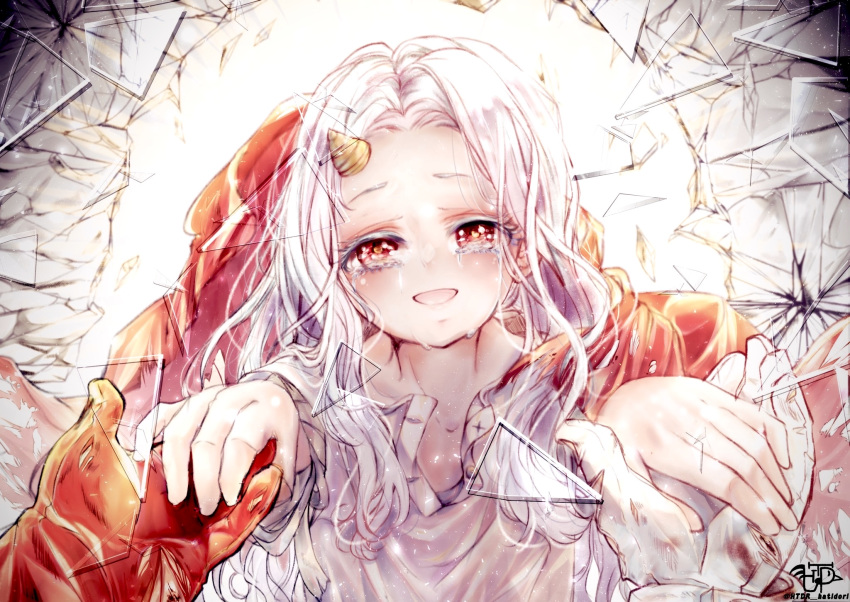 1girl bandages blood blood_stain boku_no_hero_academia cape child colored_eyelashes crying crying_with_eyes_open eri_(boku_no_hero_academia) glass_shards gloves half-closed_eyes highres holding_hands horn htdr_hatidori looking_at_viewer messy_hair pov red_eyes red_gloves relief shattered smile solo_focus streaming_tears tears unbuttoned unbuttoned_shirt white_gloves white_hair