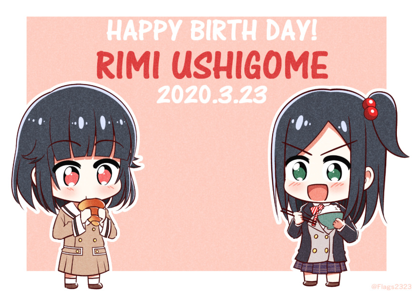 2girls :d bang_dream! bangs black_hair black_jacket blazer blush bowl brown_dress brown_footwear character_name chibi chocolate_cornet chopsticks collared_shirt commentary_request dated double-breasted dress dual_persona eating eyebrows_visible_through_hair food full_body green_eyes hair_bobbles hair_flaps hair_ornament hanasakigawa_school_uniform happy_birthday holding holding_bowl holding_chopsticks holding_food jacket long_sleeves looking_at_another looking_down multiple_girls neck_ribbon one_side_up open_mouth outline pakudehon parted_bangs pink_background plaid plaid_skirt prototype purple_skirt red_eyes ribbon rice_bowl sailor_collar sailor_dress school_uniform shirt shoes short_hair sidelocks skirt smile socks striped striped_ribbon twitter_username ushigome_rimi v-shaped_eyebrows white_legwear white_sailor_collar