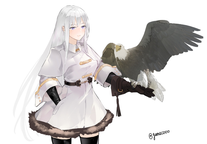 1girl azur_lane bald_eagle bangs bird breasts closed_mouth coat collared_coat eagle enterprise_(azur_lane) enterprise_(reindeer_master)_(azur_lane) fur_trim gloves hand_in_pocket large_breasts long_hair nello_(luminous_darkness) sidelocks silver_hair standing thigh-highs thighs violet_eyes white_coat wide_sleeves