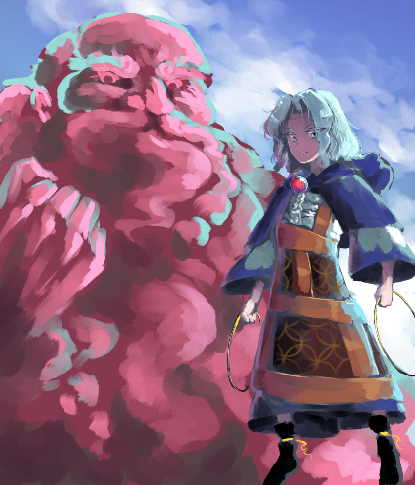 1girl black_footwear blue_eyes blue_hair blue_sky clenched_hand clouds commentary ears eyebrows floating highres holding hood hoop jewelry kesa kumoi_ichirin long_sleeves looking_at_viewer neckwear nose outdoors pendant red_neckwear serious short_hair sky solo sunyup thick_eyebrows touhou unzan v-shaped_eyebrows wavy_hair wide_sleeves