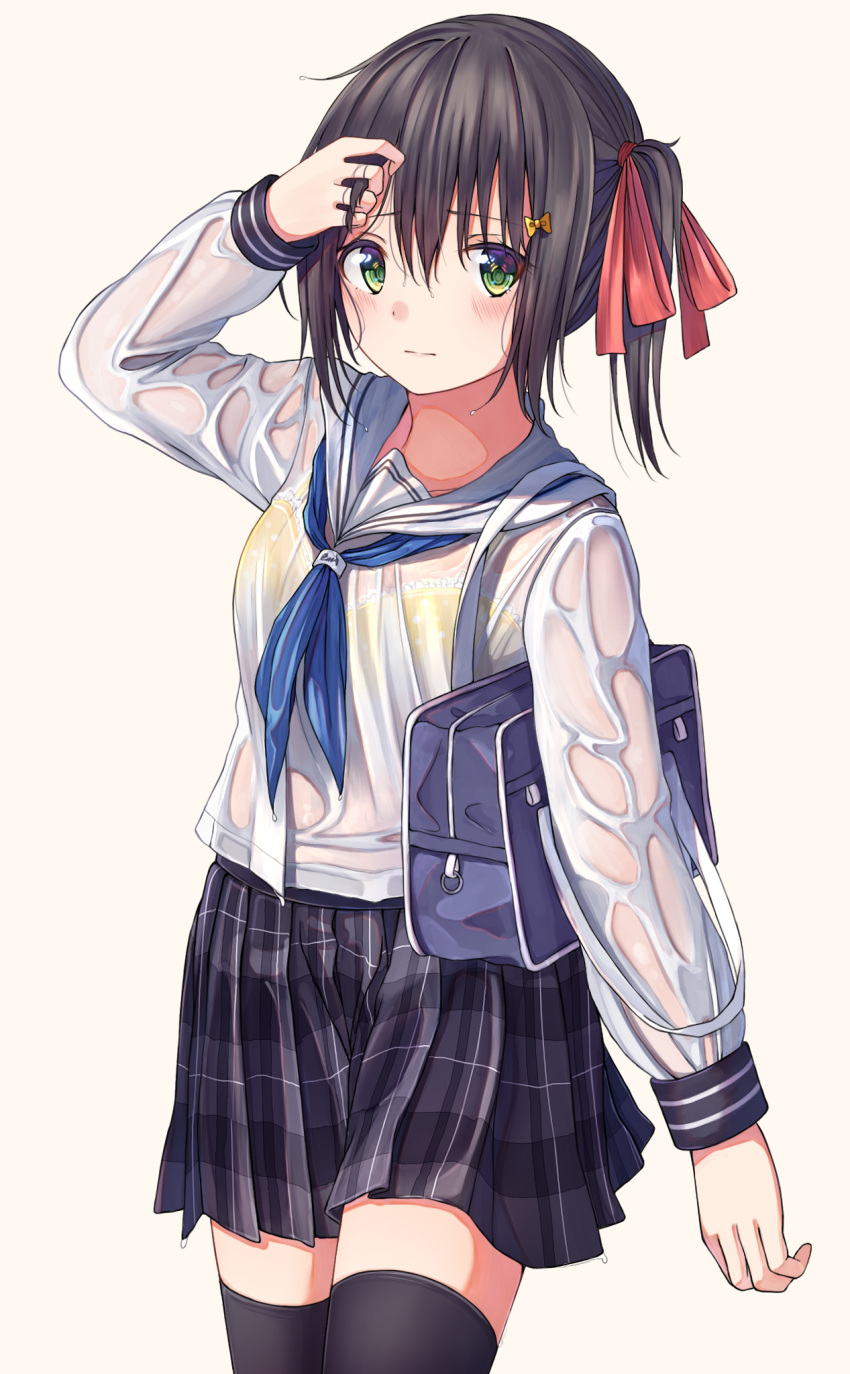 1girl arm_up bangs black_hair black_legwear blue_neckwear blush bow bra bra_through_clothes breasts brown_background closed_mouth commentary_request eyebrows_visible_through_hair frilled_bra frills green_eyes grey_skirt hair_between_eyes hair_bow highres long_sleeves looking_at_viewer n2_(yf33) neckerchief original plaid plaid_skirt pleated_skirt polka_dot polka_dot_bra red_bow sailor_collar school_uniform see-through serafuku shirt sidelocks simple_background skirt small_breasts solo thigh-highs twintails underwear wet wet_clothes wet_shirt white_sailor_collar white_shirt yellow_bow yellow_bra