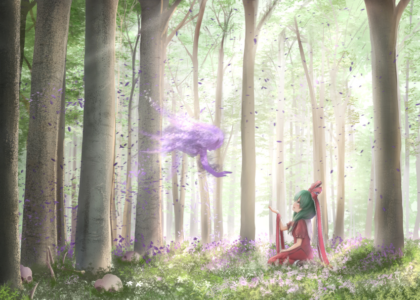 1girl 1other ambiguous_gender arm_up bone commentary_request day flower forest frilled_ribbon frills from_side front_ponytail grass green_eyes green_hair hair_ribbon hand_on_lap head_tilt highres kagiyama_hina long_hair looking_up luke_(kyeftss) nature outdoors parted_lips petals pink_flower profile puffy_short_sleeves puffy_sleeves purple_flower red_shirt red_skirt ribbon shirt short_sleeves sideways_mouth sitting sitting_on_ground skirt skull spirit touhou very_long_hair wariza