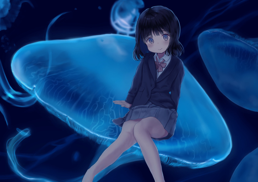 1girl arm_support bangs black_hair black_jacket blazer blush bow brown_bow closed_mouth collared_shirt commentary_request eyebrows_visible_through_hair feet_out_of_frame grey_eyes grey_skirt jacket jellyfish knees_together_feet_apart long_sleeves looking_at_viewer mimikaki_(men_bow) original pleated_skirt school_uniform shirt skirt smile solo white_shirt