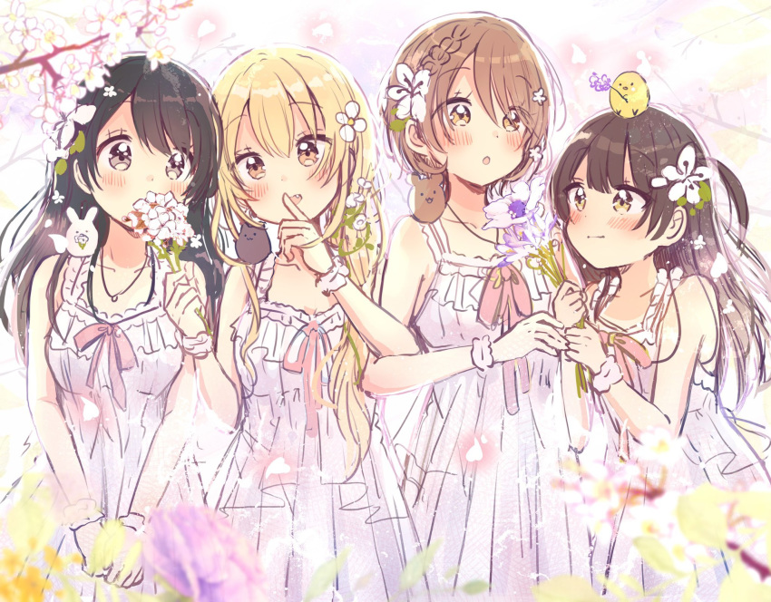 4girls :d :o bare_arms bare_shoulders black_hair blonde_hair blurry blurry_foreground blush braid brown_eyes brown_hair closed_mouth collarbone commentary covered_mouth depth_of_field dress english_commentary fang flower hair_flower hair_ornament highres holding holding_flower long_hair multiple_girls one_side_up open_mouth original parted_lips purple_flower sakura_oriko scrunchie sleeveless sleeveless_dress smile tree_branch very_long_hair white_dress white_flower white_scrunchie wrist_scrunchie yellow_flower