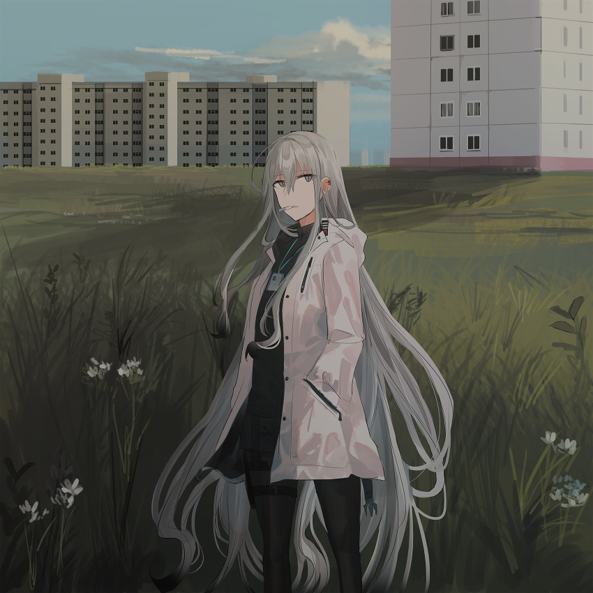 1girl bangs black_legwear black_shirt black_shorts blue_sky building chihuri cigarette clouds day ear_piercing eyebrows_visible_through_hair flower grass grey_eyes grey_hair hair_between_eyes hand_in_pocket highres jacket legwear_under_shorts long_hair long_sleeves looking_at_viewer mouth_hold open_clothes open_jacket original outdoors pantyhose parted_lips piercing shirt short_shorts shorts sky solo standing very_long_hair white_flower white_jacket window zoya_petrovna_vecheslova