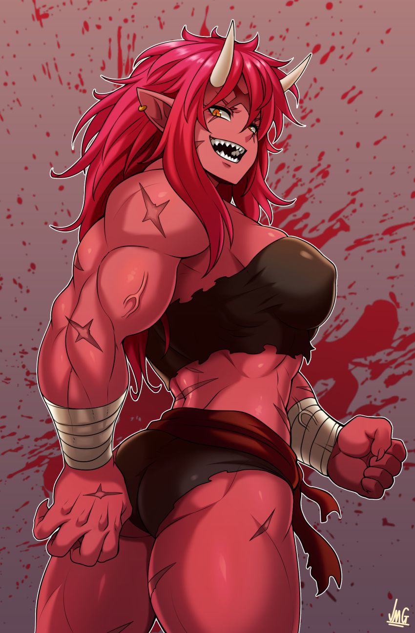 1girl absurdres ass bandaged_wrist bandeau black_shorts breasts clenched_hand covered_nipples earrings fingernails highres horns jewelry jmg large_breasts long_hair looking_back midriff muscle muscular_female oni oni_horns open_mouth orange_eyes original pointy_ears red_oni red_skin redhead sash scar scar_across_eye sharp_fingernails sharp_teeth short_shorts shorts slit_pupils solo standing strapless teeth thick_thighs thighs veins