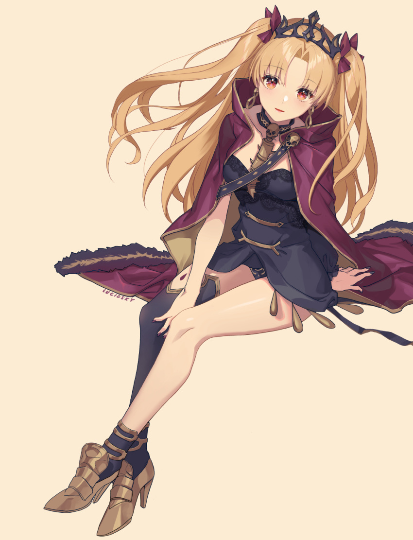 1girl black_legwear blonde_hair breasts earrings ereshkigal_(fate/grand_order) eyebrows_visible_through_hair fate/grand_order fate_(series) full_body highres jewelry large_breasts long_hair looking_at_viewer red_eyes single_thighhigh sitting solo thigh-highs twintails yume_ou