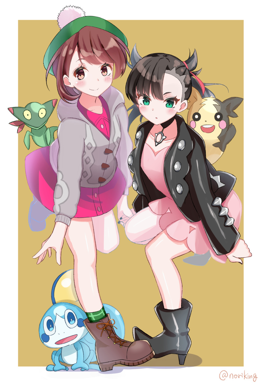 2girls :o absurdres asymmetrical_bangs bangs black_choker black_footwear black_hair black_jacket black_nails blush boots brown_background brown_eyes brown_footwear brown_hair cardigan character_request choker closed_mouth collarbone collared_dress commentary_request cross-laced_footwear dress eyebrows_behind_hair gen_8_pokemon green_eyes green_headwear green_legwear grey_cardigan hair_ribbon high_heel_boots high_heels highres holding_hands honorikiti hood hood_down hooded_cardigan jacket lace-up_boots long_sleeves mary_(pokemon) morpeko morpeko_(full) multiple_girls nail_polish open_clothes open_jacket parted_lips pink_dress pokemon pokemon_(creature) pokemon_(game) pokemon_swsh purple_dress red_ribbon ribbon shadow smile sobble socks tam_o'_shanter twintails twitter_username two-tone_background v-shaped_eyebrows white_background yuuri_(pokemon)