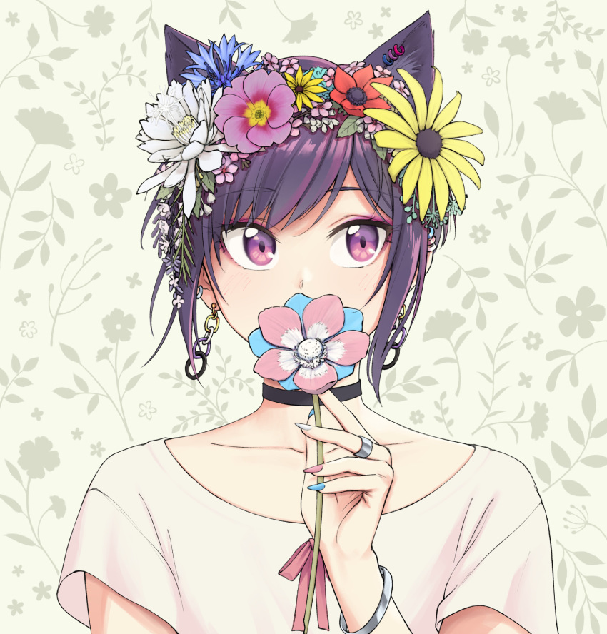 1other androgynous animal_ears bracelet cat_ears choker collarbone earrings eyebrows_visible_through_hair flower hair_flower hair_ornament highres jewelry looking_at_viewer original pas'_black-haired_catperson pas_(paxiti) purple_hair shirt short_hair short_sleeves upper_body violet_eyes white_shirt