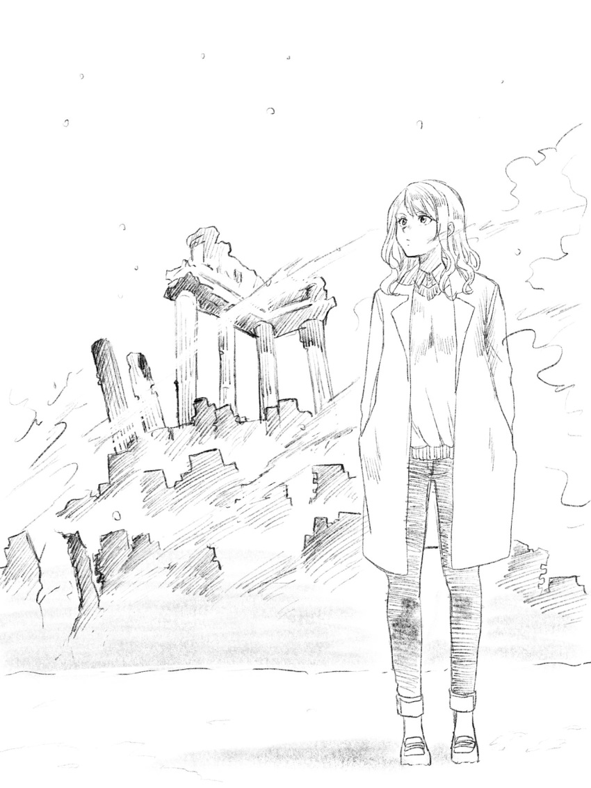 1girl closed_mouth coat collared_shirt full_body greyscale hands_in_pockets highres long_hair looking_up monochrome nikaidou_kou open_clothes open_coat original outdoors pants ruins shirt shoes solo standing wing_collar