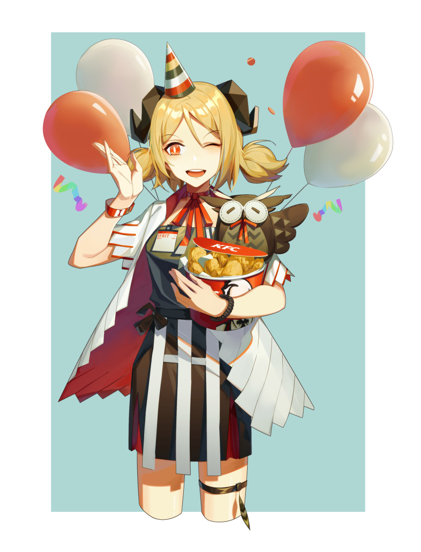 1girl ;d absurdres arknights balloon black_dress blonde_hair blue_background border bucket bucket_of_chicken choker colonel_sanders confetti cowboy_shot cropped_legs dress eyebrows_visible_through_hair fried_chicken hand_up hat highres holding holding_bucket horns ifrit_(arknights) kfc looking_at_viewer low_twintails one_eye_closed open_clothes open_mouth open_shirt outside_border party_hat red_choker red_eyes red_ribbon ribbon ribbon_choker shenyin_jiade_aquan shirt short_dress short_hair short_sleeves simple_background smile solo standing stuffed_animal stuffed_owl stuffed_toy thigh_strap twintails white_border white_shirt wristband