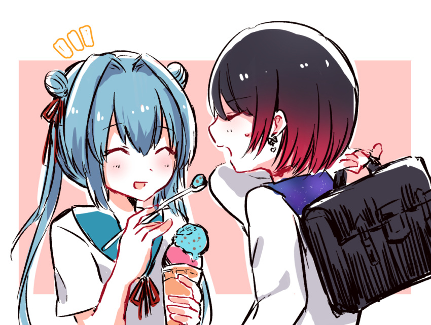 2girls :d ^_^ bangs beniko_(ymdbnk) black_hair blue_hair blue_sailor_collar blush brown_background closed_eyes double_bun double_scoop earrings eyebrows_visible_through_hair feeding food gradient_hair hair_between_eyes hair_intakes hair_ribbon holding holding_spoon ice_cream ice_cream_cone jewelry long_hair long_sleeves multicolored_hair multiple_girls neck_ribbon notice_lines open_mouth original profile red_ribbon redhead ribbon sailor_collar school_briefcase school_uniform serafuku shirt short_sleeves smile spoon twintails two-tone_background upper_body white_background white_shirt