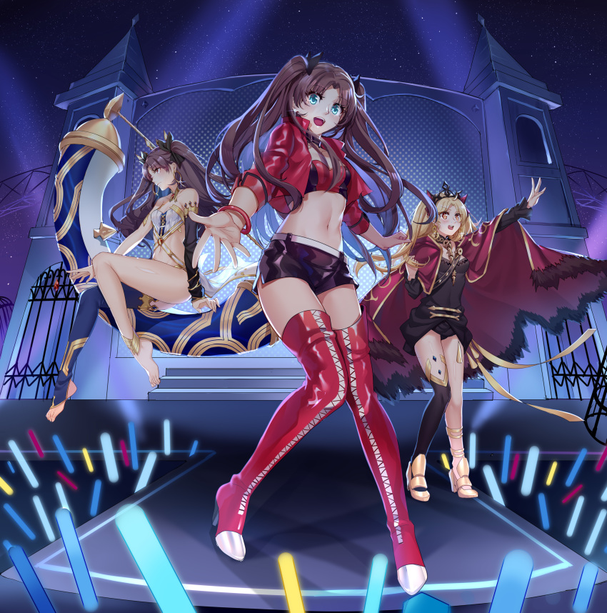 3girls absurdres aer_(tengqiu) bangs bare_shoulders belt black_dress black_legwear black_shorts blonde_hair blue_eyes boots bracelet breasts brown_hair building cape choker commentary_request crop_top cropped_jacket dress ereshkigal_(fate/grand_order) fate/grand_order fate_(series) glowstick gold_trim hair_ribbon heavenly_boat_maanna high_heel_boots high_heels highres ishtar_(fate)_(all) ishtar_(fate/grand_order) jacket jewelry long_hair long_sleeves looking_at_viewer looking_away midriff multiple_girls navel open_clothes open_jacket orange_eyes parted_bangs racequeen red_footwear red_jacket revealing_clothes ribbon short_shorts shorts single_thighhigh sitting small_breasts stomach thigh-highs thigh_boots thighs toeless_legwear toosaka_rin two_side_up