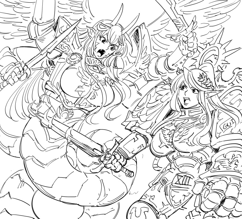 2girls armor bb_(baalbuddy) boobplate breastplate centaur centorea_shianus commentary cosplay crossover dual_wielding fangs fighting fulgrim fulgrim_(cosplay) gauntlets greyscale hair_ornament halo highres holding holding_sword holding_weapon horns lamia laurel_crown long_hair mechanical_halo miia_(monster_musume) monochrome monster_girl monster_musume_no_iru_nichijou multiple_girls open_mouth pauldrons pointy_ears roboute_guilliman roboute_guilliman_(cosplay) roman_numerals scales simple_background sword warhammer_40k weapon white_background wings