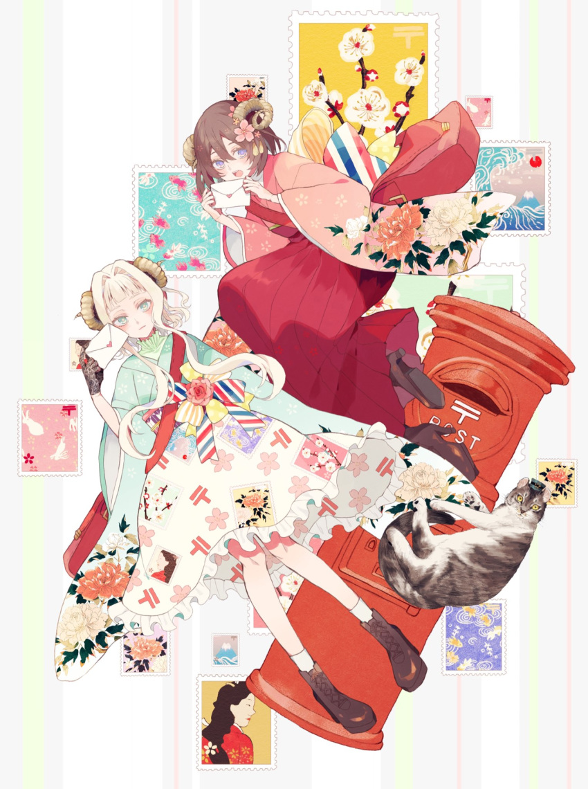 2girls :d blush boots bow brown_footwear brown_hair cat cherry_blossoms closed_mouth cross-laced_footwear curled_horns floating floral_print flower green_eyes hair_flower hair_ornament hakama haori high_heel_boots high_heels highres holding holding_letter japanese_clothes letter long_sleeves looking_at_viewer multicolored_bow multiple_girls open_mouth original pink_flower red_hakama satsuki_(miicat) smile socks violet_eyes white_hair white_legwear wide_sleeves