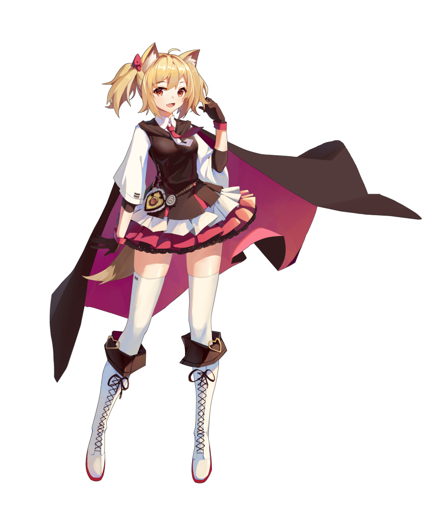 1girl :d absurdres ahoge animal_ear_fluff animal_ears arknights bangs black_cape black_gloves black_vest blonde_hair blush boots bow brown_eyes cape cross-laced_footwear eyebrows_visible_through_hair fang full_body gloves hair_bow hand_up highres knee_boots lace-up_boots long_sleeves looking_at_viewer miniskirt necktie open_mouth pink_skirt pleated_skirt red_bow red_neckwear shenyin_jiade_aquan shirt short_hair simple_background skirt smile solo sora_(arknights) standing tail thigh-highs twintails vest white_background white_footwear white_legwear white_shirt wolf_ears wolf_tail zettai_ryouiki