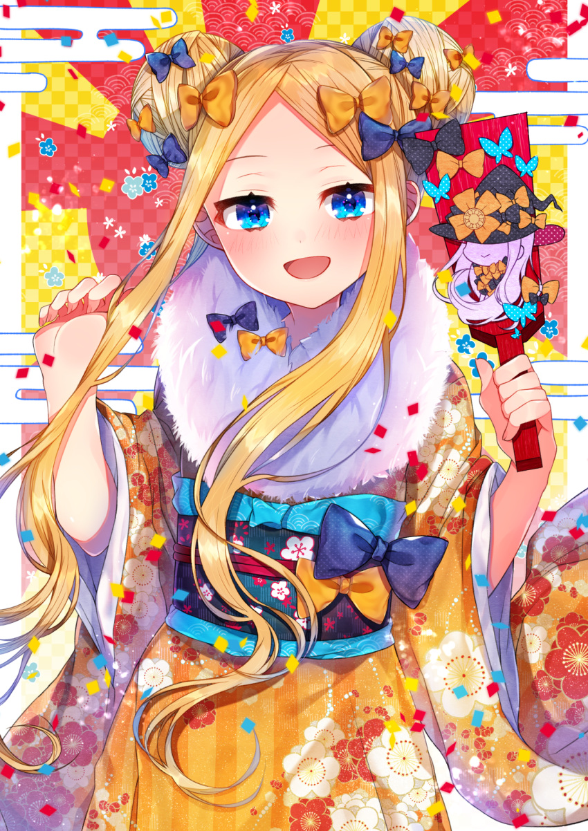 1girl abigail_williams_(fate/grand_order) akirannu bangs black_bow blonde_hair blue_eyes blush bow breasts double_bun egasumi fate/grand_order fate_(series) floral_print forehead fur_trim highres japanese_clothes kimono long_hair looking_at_viewer multiple_bows obi open_mouth orange_bow orange_kimono parted_bangs polka_dot polka_dot_bow sash small_breasts smile
