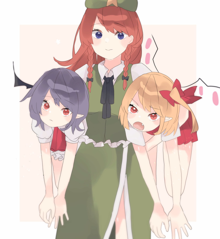 3girls bat_wings beret blonde_hair blue_eyes blush_stickers bow braid carrying_over_shoulder china_dress chinese_clothes dress fang flandre_scarlet green_dress hair_bow hat highres hong_meiling lavender_hair long_hair multiple_girls neck_ribbon no_hat no_headwear pink_dress puffy_short_sleeves puffy_sleeves ratako red_dress red_eyes redhead remilia_scarlet ribbon short_hair short_sleeves side_ponytail simple_background star touhou twin_braids wings
