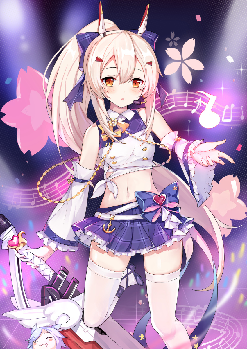 1girl :3 :o ^_^ absurdres aiguillette ayanami_(azur_lane) ayanami_(troubled_star_idol)_(azur_lane) azur_lane bangs bare_shoulders belt blush blush_stickers bow breasts cherry_blossoms closed_eyes commentary_request cowboy_shot crop_top detached_sleeves drooling feng_mao_mc fubuki_(azur_lane) glint glowstick hair_between_eyes hair_bow hair_ornament hairclip headgear headset high_ponytail highres holding holding_sword holding_weapon idol long_hair looking_at_viewer midriff musical_note navel orange_eyes plaid plaid_bow plaid_skirt platinum_blonde_hair pleated_skirt ponytail purple_background purple_bow purple_footwear sarashi shirt sidelocks skirt small_breasts solo_focus sparkle stage_lights standing standing_on_one_leg sword thigh-highs waist_bow weapon white_belt white_legwear white_shirt white_sleeves wide_sleeves zettai_ryouiki |3