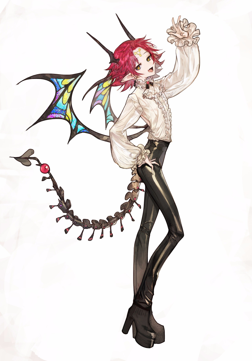 :d absurdres ascot black_pants blouse boots copyright_request demon_tail demon_wings earrings fang from_side full_body hand_on_hip hand_up head_tilt high_heel_boots high_heels highres horns jewelry long_sleeves looking_at_viewer looking_to_the_side low_wings open_mouth pants pointy_ears redhead rosette_(yankaixuan) short_hair simple_background skin_tight smile tail white_background white_blouse white_neckwear wings yellow_eyes