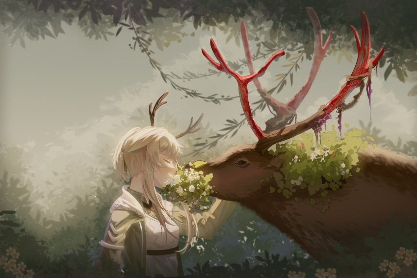 1girl animal antlers arknights autumn breasts bush chinese_commentary closed_eyes commentary_request firewatch_(arknights) flower hair_ribbon hand_on_another's_cheek hand_on_another's_face highres hood hood_down hoodie leaf leaf_background lingmuqianyi long_hair open_clothes open_hoodie outdoors platinum_blonde_hair ponytail reindeer reindeer_antlers reindeer_girl ribbon shedding sidelocks small_breasts tied_hair